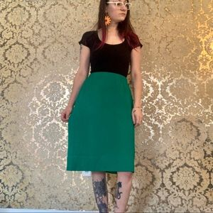 VTG 1970s Kelly Green Stretchy Pencil Skirt
